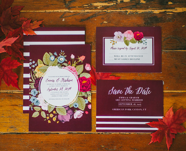 vibrant fall romance invitation