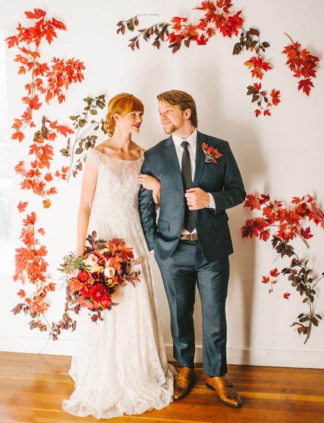 vibrant fall romance leaf wall