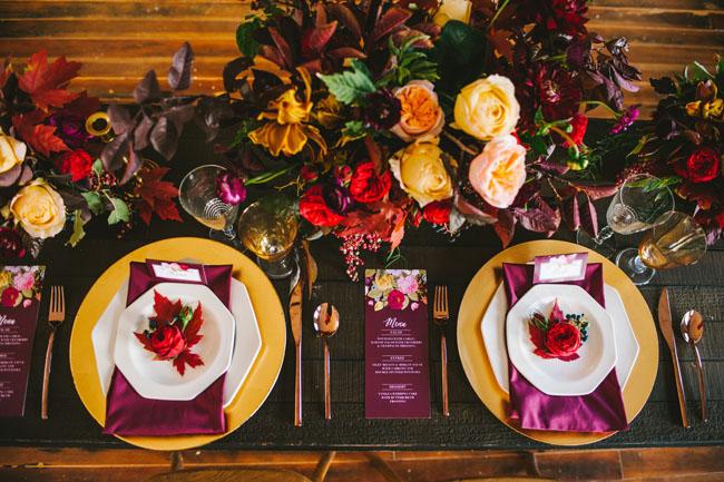 vibrant fall romance tablescape