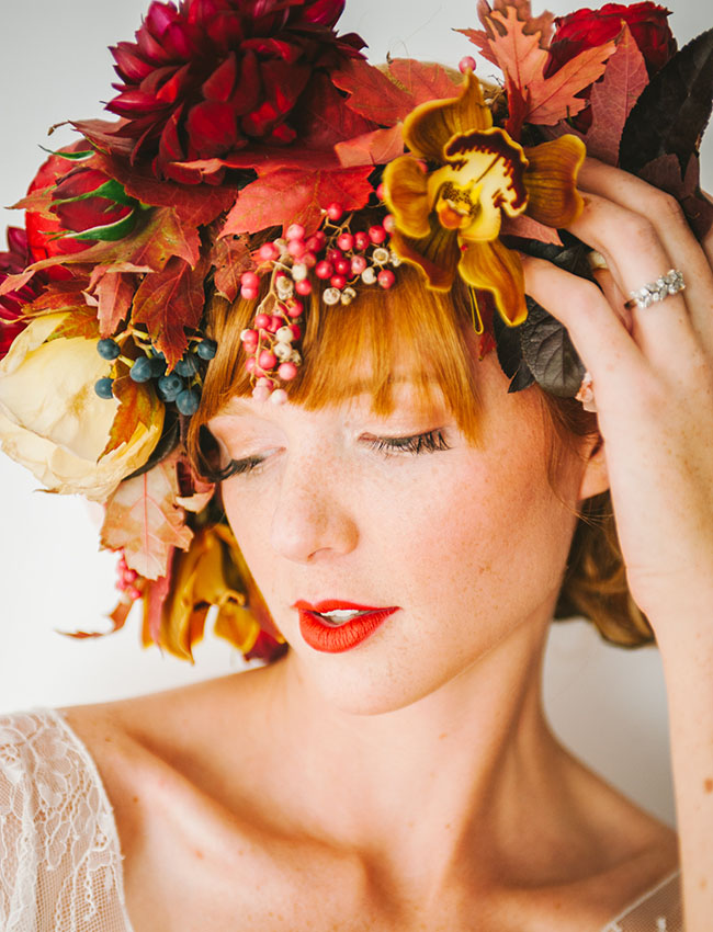 vibrant fall romance flower crown