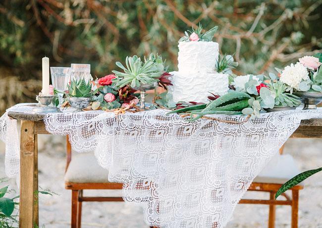 romantic succulent tablescape