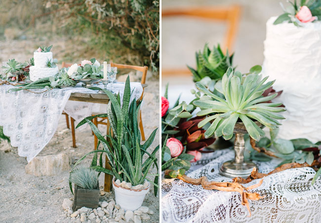 romantic succulent tablescape