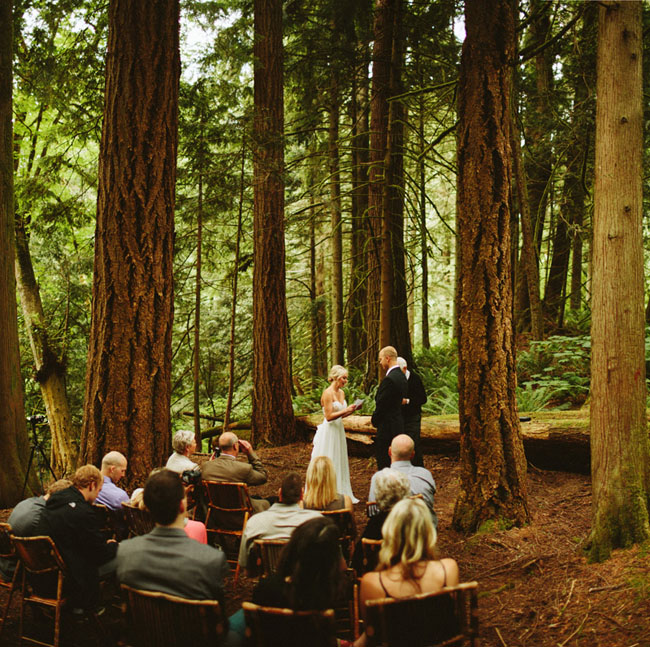 Forest elopement at snoqualmie falls samantha calen for Outdoor wedding washington state