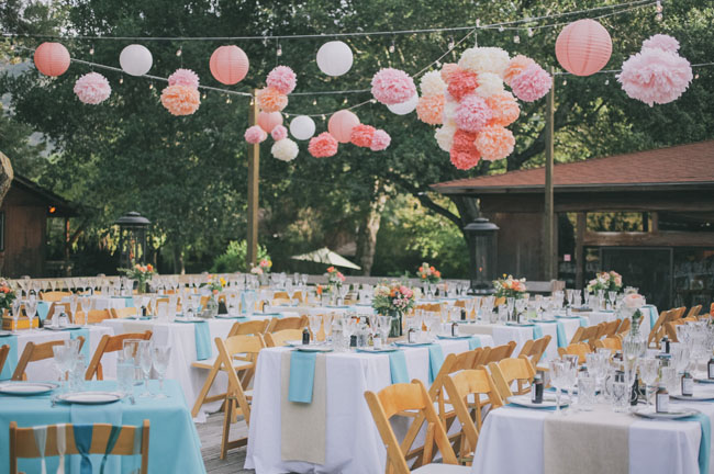 pink tissue ball ceiling decor