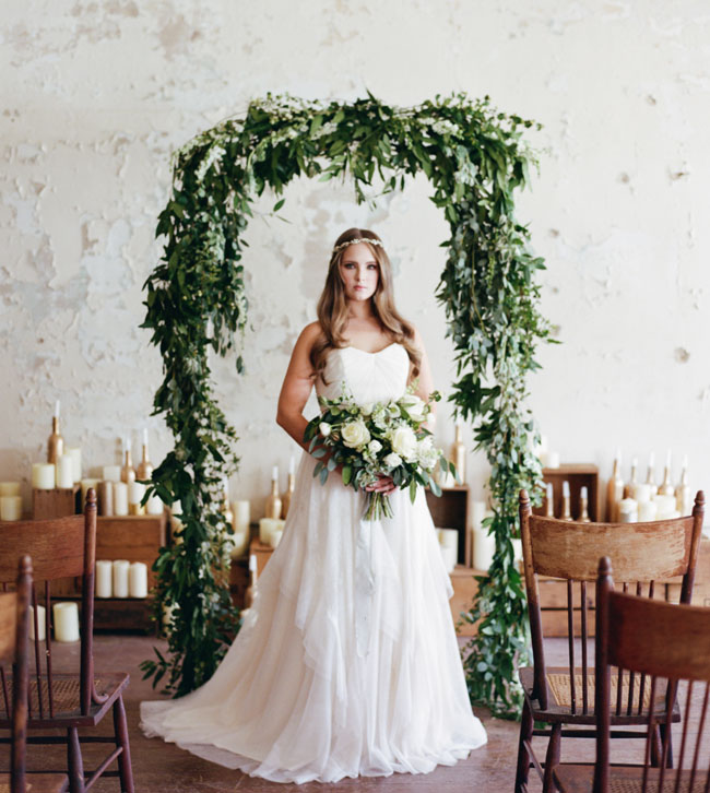 Winter Wedding Altar Ideas: White + Gold Winter Wedding Inspiration