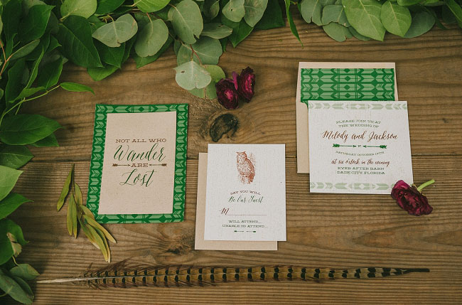 bohemian woodland invitation