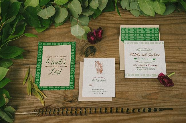 bohemian woodland invitation