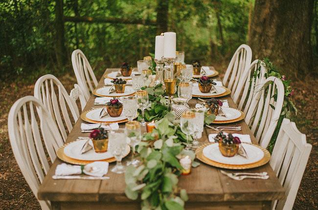 boho woodland tablescape