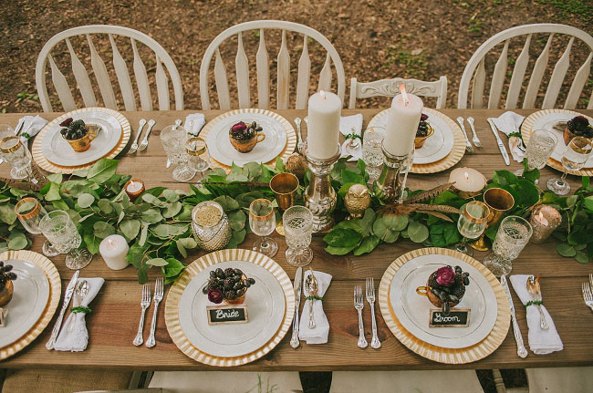 boho woodland tablescape