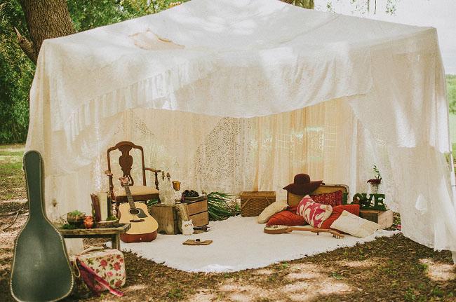 boho tent & Fall Woodland Wedding Inspiration