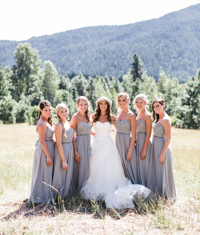 gray maxi bridesmaid dresses