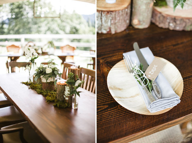 woodsy log centerpieces