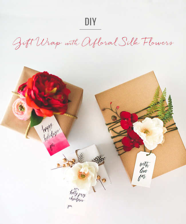 Diy gift wrap with silk flowers from afloral mightylinksfo