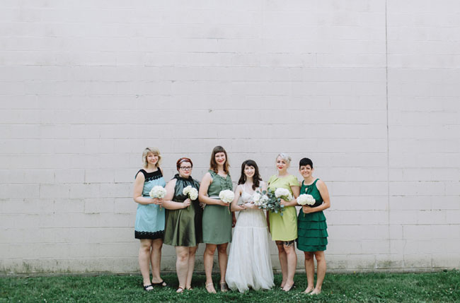mixed green bridesmaid dresses