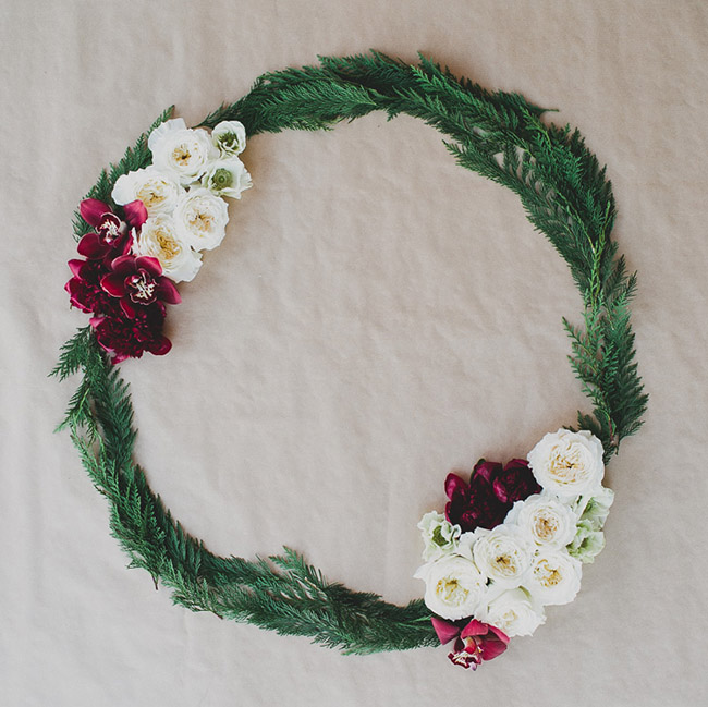 Winter Wreath with Winter Flowers