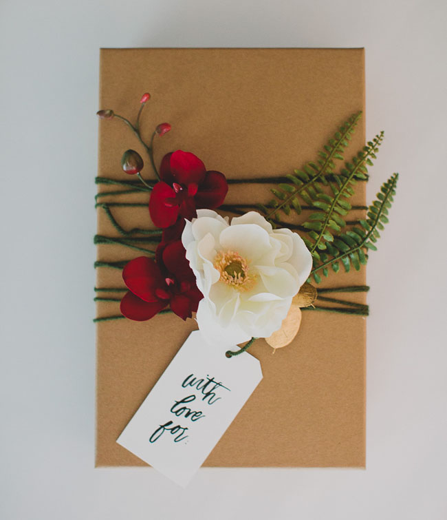 Wedding Gift Wrap Etiquette: DIY: Gift Wrap With Silk Flowers From Afloral