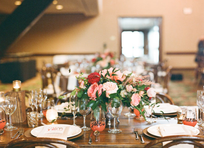 rustic peach tablescape