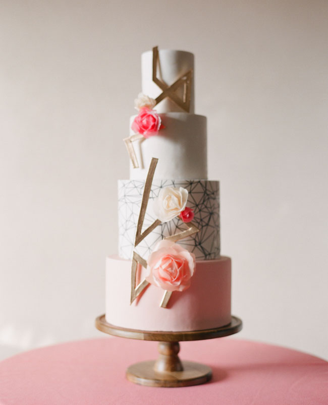 modern gold and pink cake