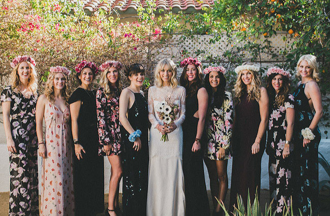 bridesmaids in black florals