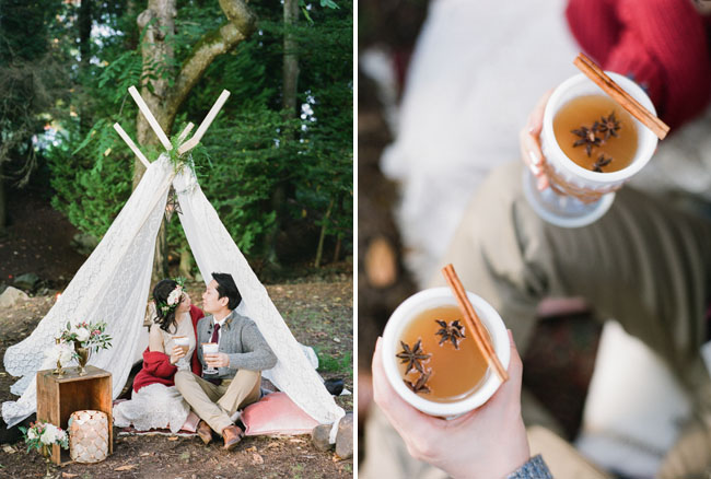 tent in the woods engagement