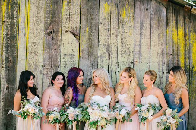 barn bridesmaids