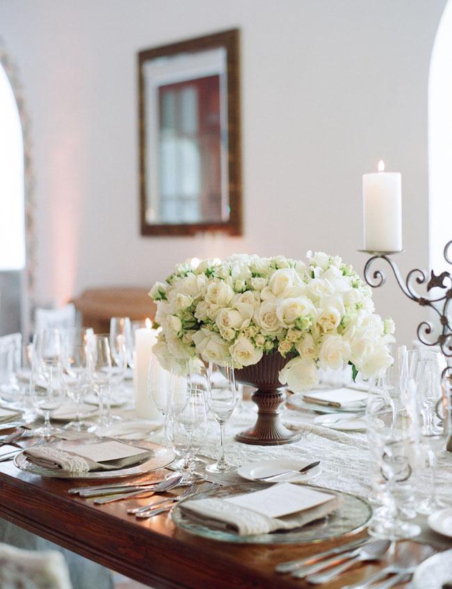 white reception centerpiece