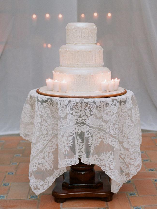 white ceremony wedding cake