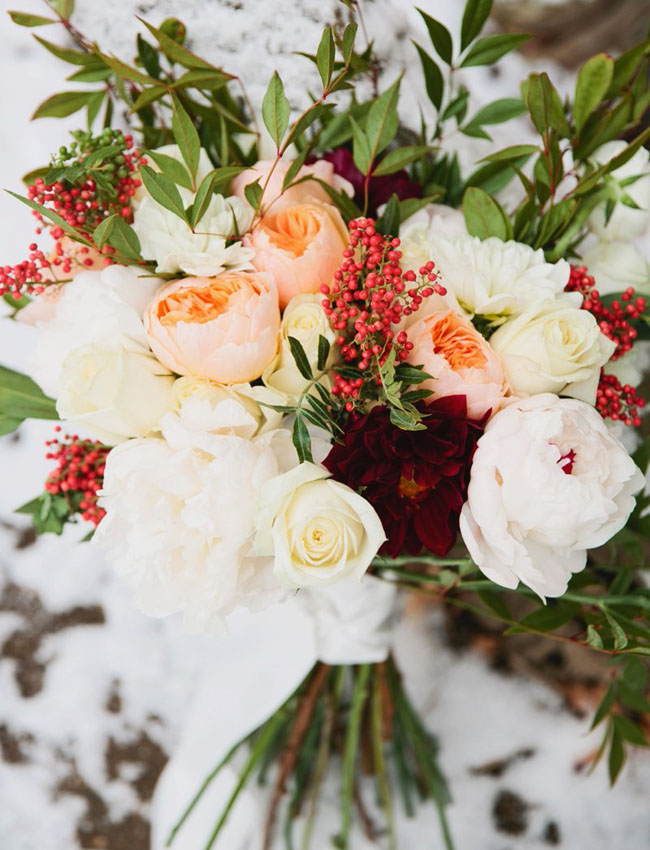 holiday garden rose bouquet
