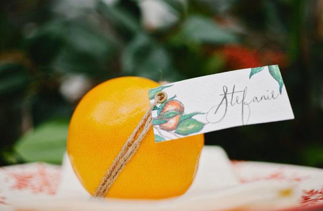 orange plate setting