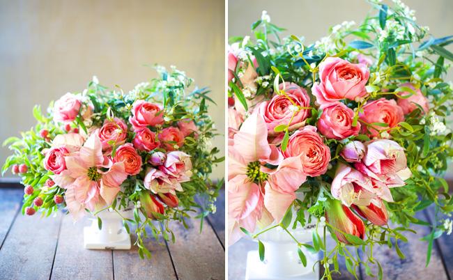 Diy Holiday Centerpiece With Mistletoe Poinsettia Garden Roses