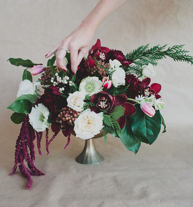 winter floral centerpiece