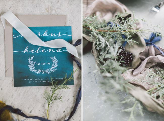 indigo wreath invitation