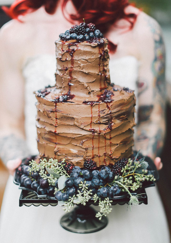 chocolate drizzled wedding cake