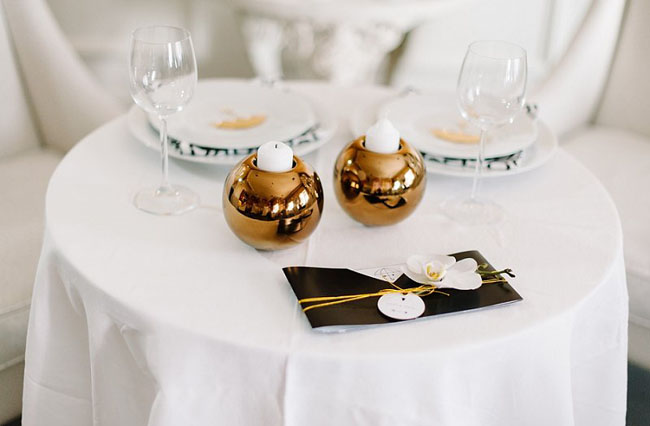 gold globe candle holders