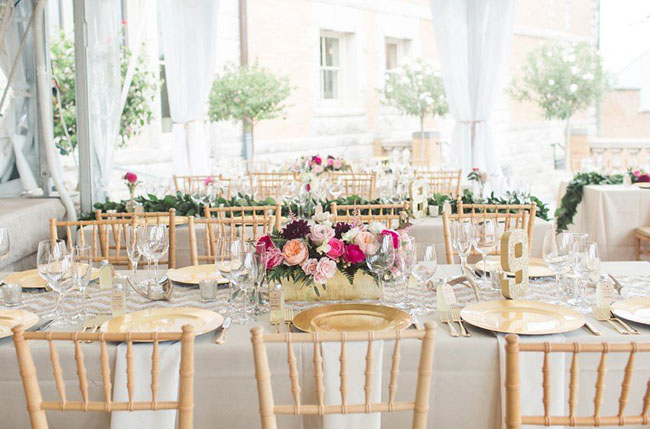 glam reception tablescape