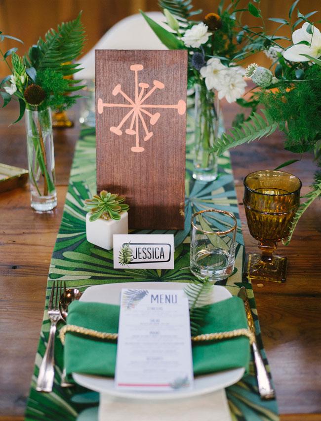 Mid Century Modern Wedding Inspiration Green Wedding