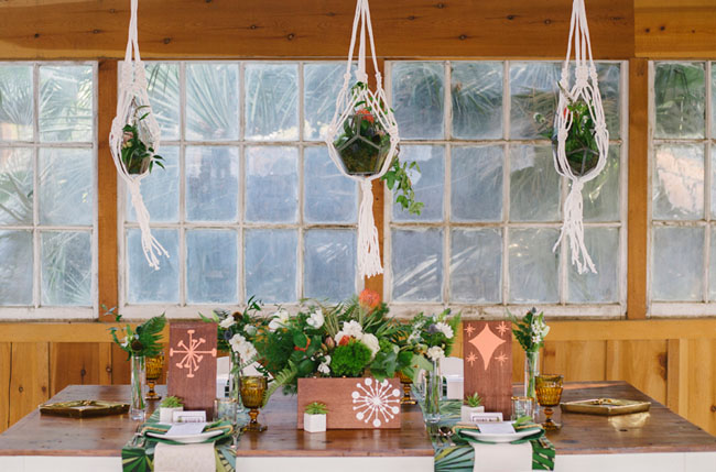 hanging plants above tablescape