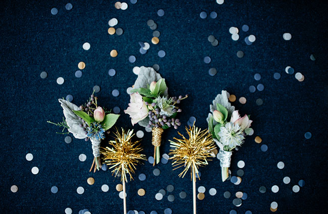 sparkly boutonnieres