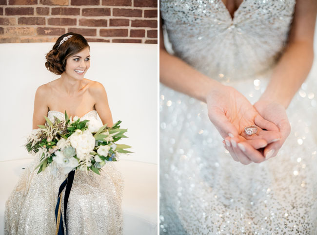 spakrly silver wedding dress