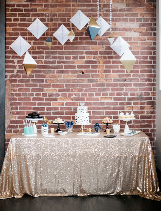 geometric new years dessert table