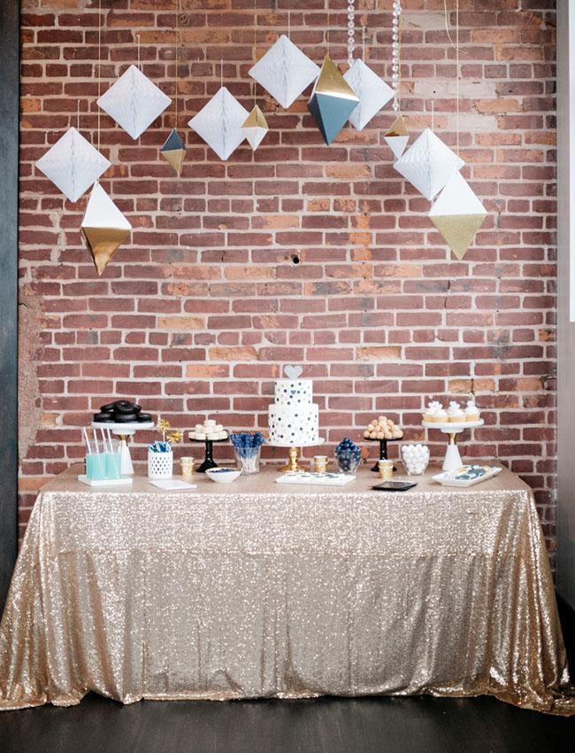 90138f5f2 geometric new years dessert table - Green Wedding Shoes