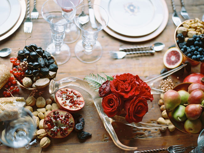 romantic fruit tablescape