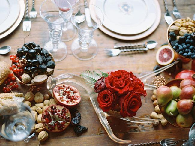 romantic fruit tablescape