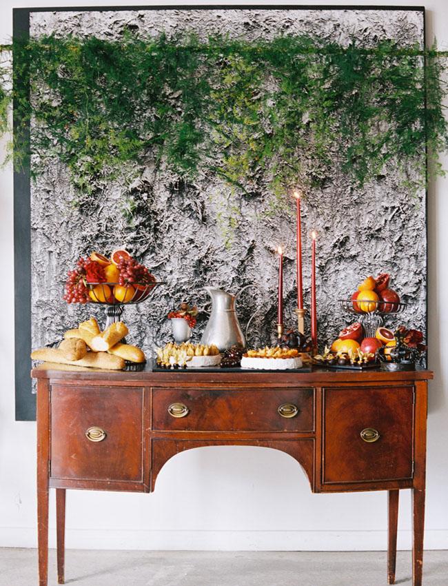 greenery backdrop dessert table