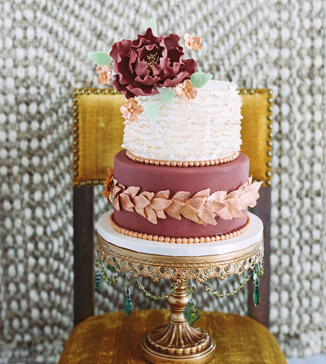 gold leaf burgundy cake