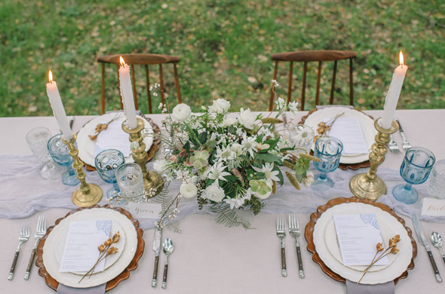 winter blue tablescape