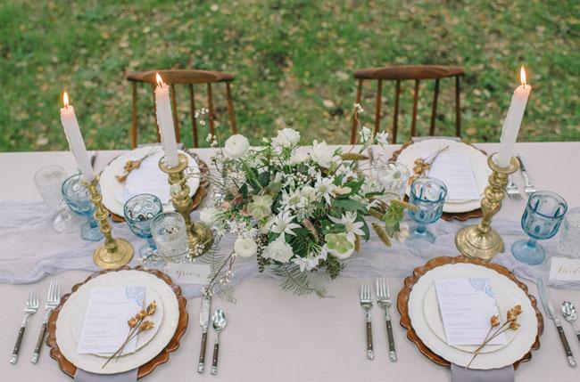 winter blue tablescape