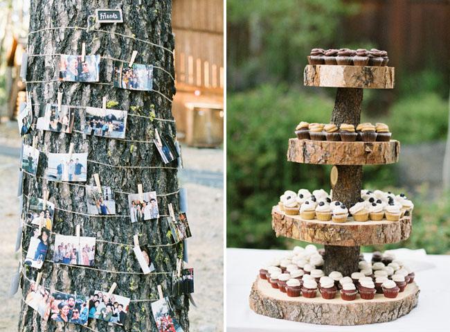 wood slice cupcake stand