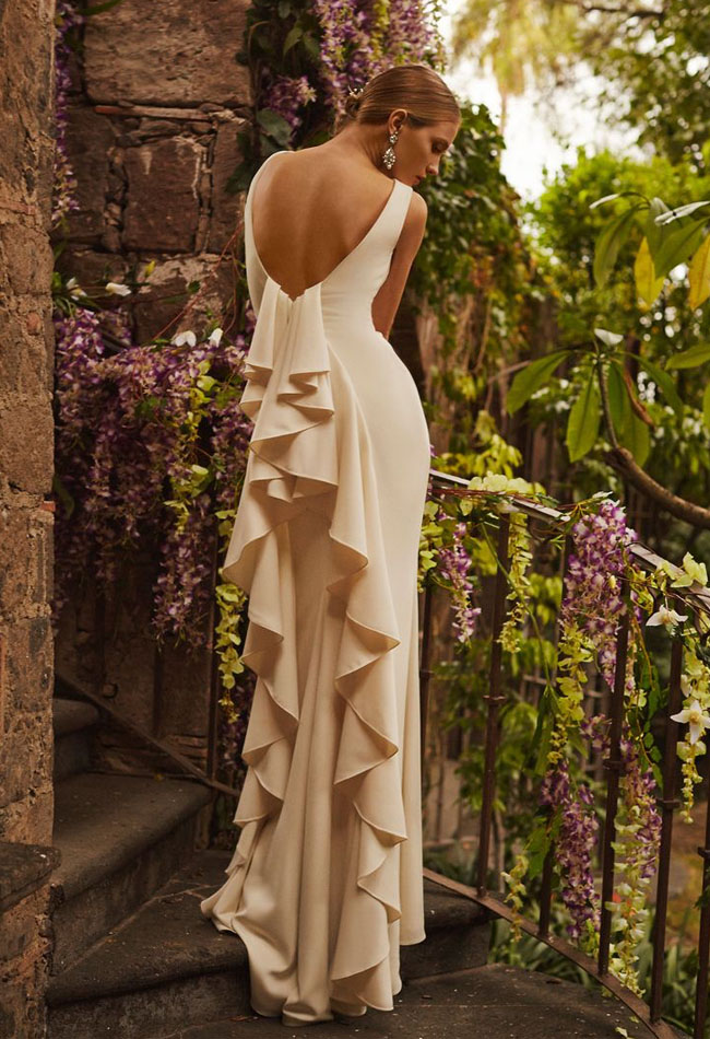 ruffled back wedding dress from BHLDN