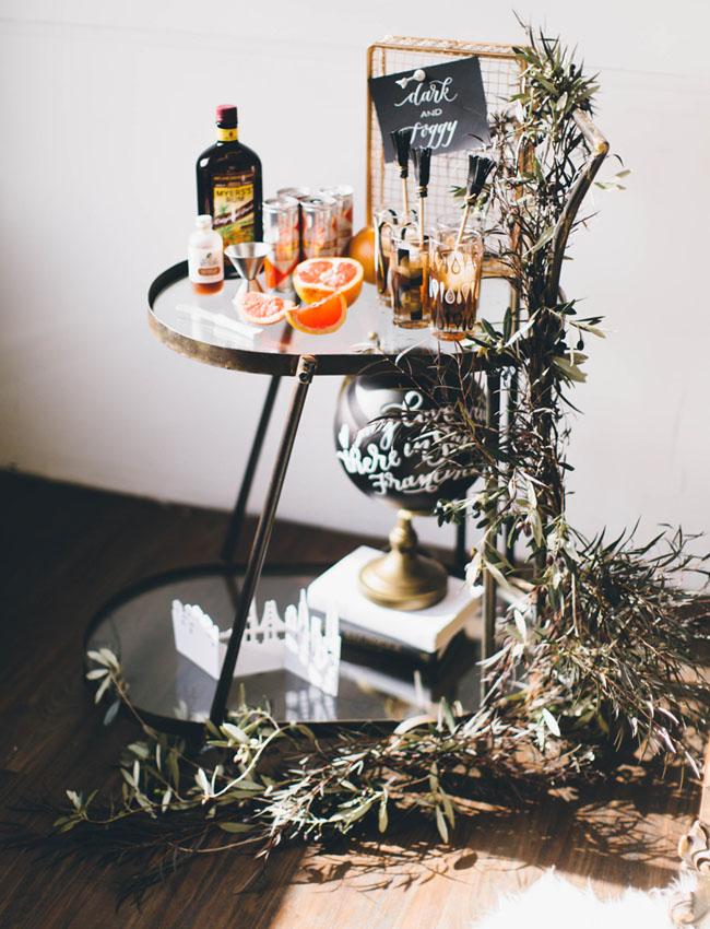 styled bar cart